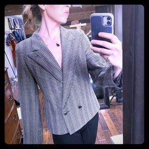 COUTURE WOOL LINED ARMANI HOUNDSTOOTH BLAZER COAT